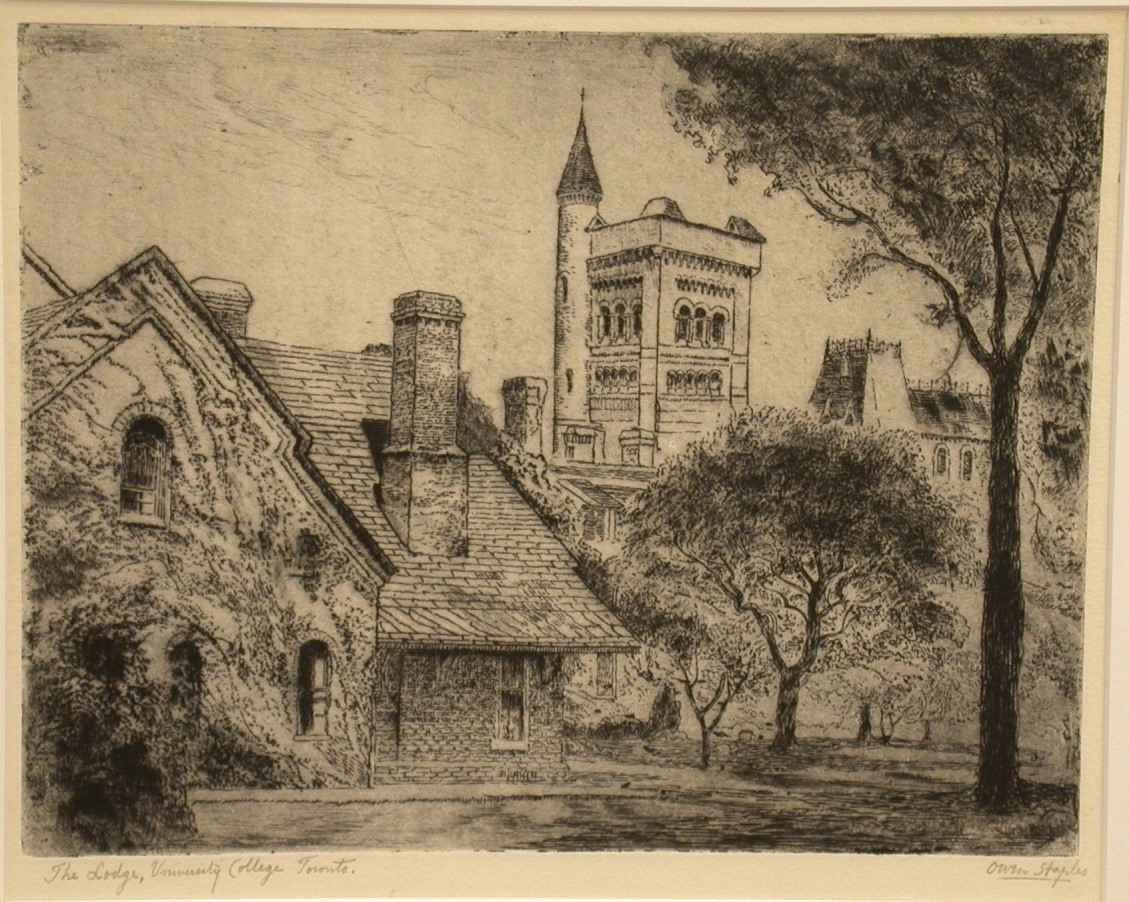 STAPLES, Owen [1866-1949]. The Lodge, University College Toronto. etching