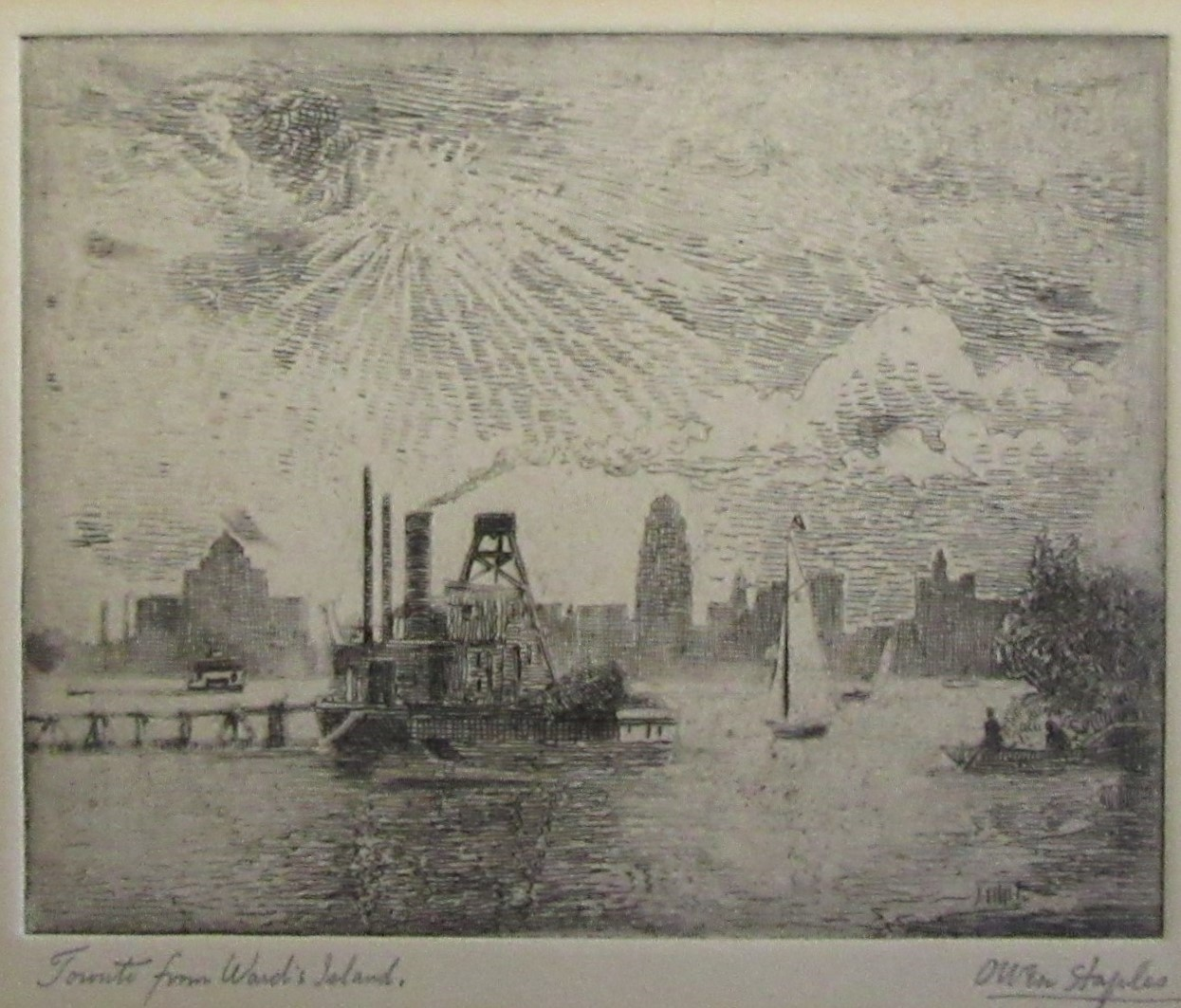 STAPLES, Owen [1866-1949].[Toronto from Ward's Island]. etching
