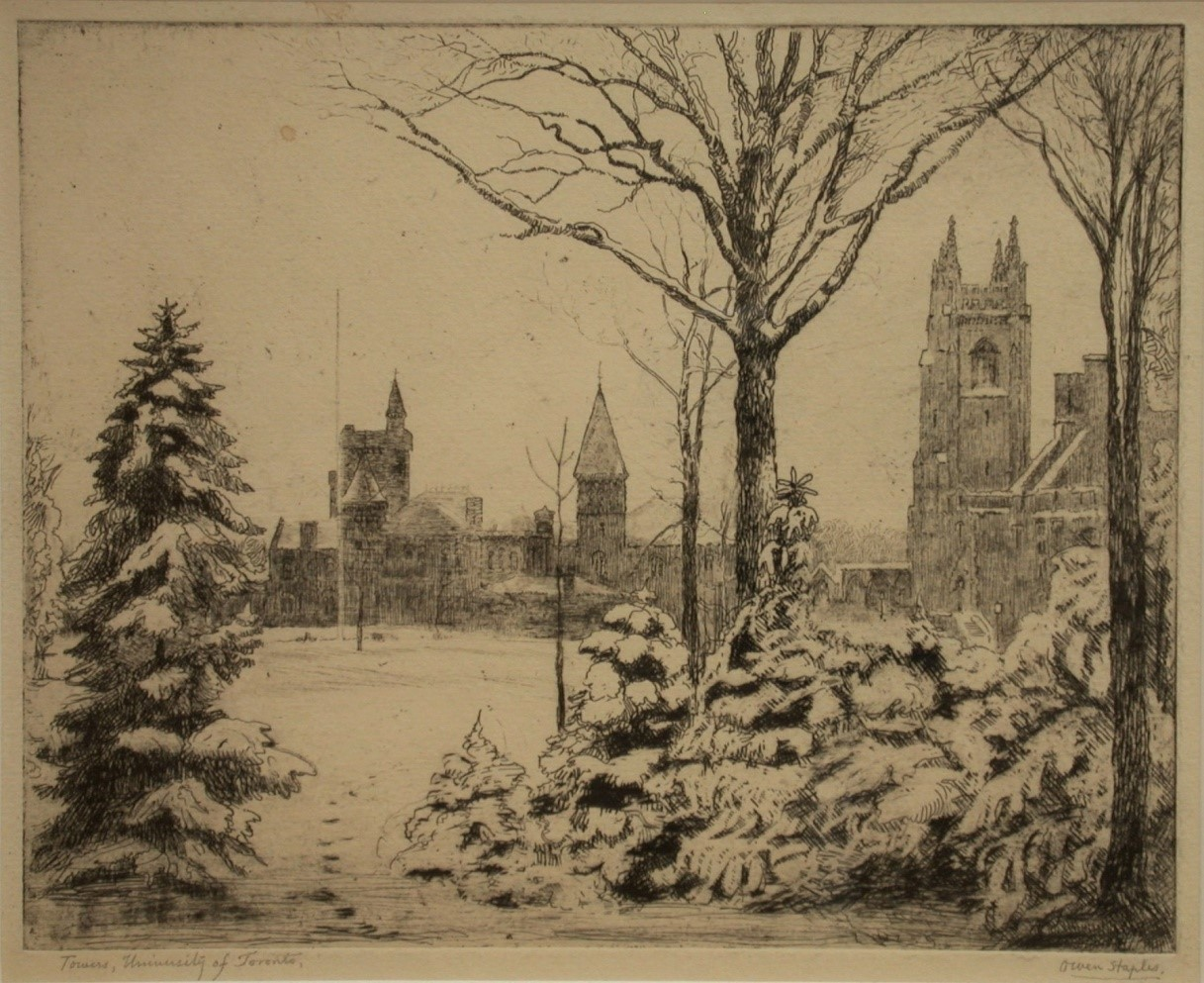 STAPLES, Owen [1866-1949].Towers, University of Toronto etching
