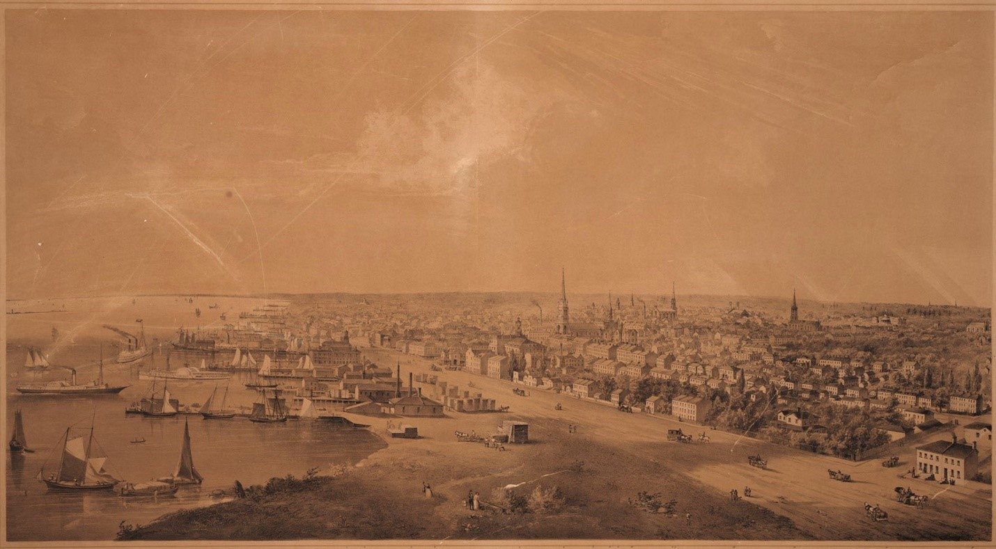 WHITEFIELD, Edwin [1816-1892]. Toronto, Canada West, from the top of the Jail. Whitefield's Original Views Of North American Cities, No. 30. Drawn from Nature by E. Whitefield. Lith. of Endicott & Co. N.Y. Published by E. Whitefield Toronto 1854.