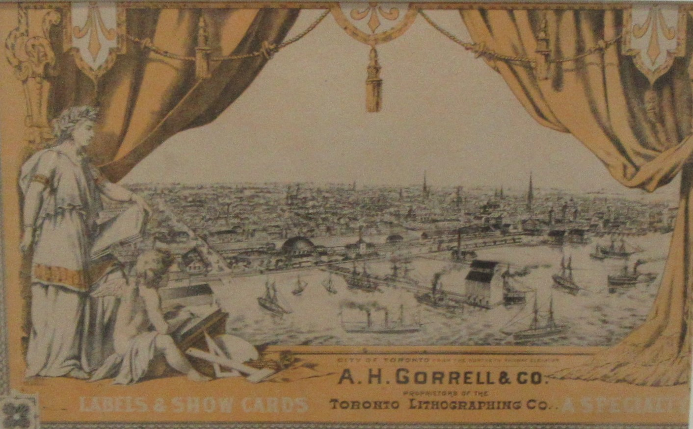 A.H.GORRELL & CO., PROPRIETORS OF TORONTO LITHOGRAPHING CO. City Of Toronto From The Northern Railway Elevator. lithograph