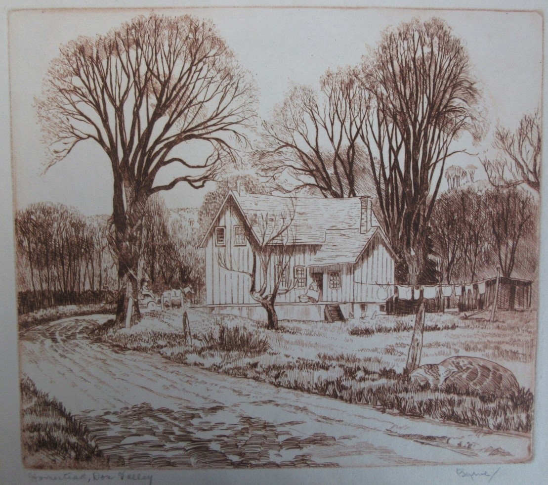 [BYRNE, John] [1905-1975] (CPE). Homestead, Don Valley. etching