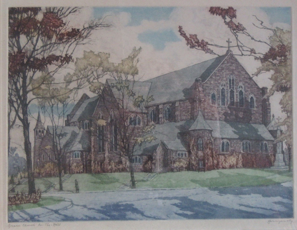 HORNYANSKY, Nicholas [1896-1965]. Grace Church On The Hill. Aquatint