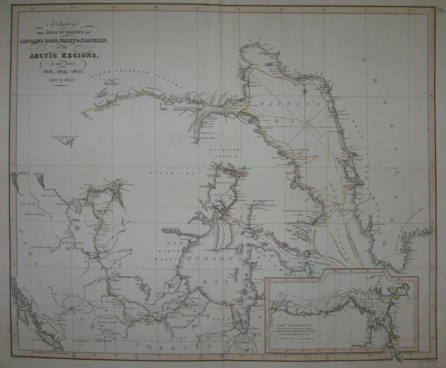 A Chart of The Discoveries Of Captains Ross, Parry & Franklin, in the Arctic Regions, In the Years 1818, 1819, 1820, 1821 & 1822. [Inset Map: 'Capt. Franklin's Journey from Coppermine River, To The Head Of Bathurst Inlet']. [London: c1827].