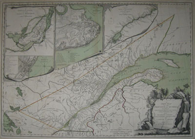 (QUEBEC). CARVER, Jonathan [1732-1780]. A New Map Of The Province Of Quebec, according to The Royal Proclamation, of the 7th. of October 1763. from the French Surveys Connected with those made after the War. By Captain Carver, and other Officers, in His Majesty's Service. [Four Inset maps & plans]. London, Printed for Robt. Sayer and John Bennett...16th. February 1776.
