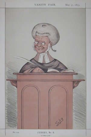 "(CARICATURES). 'SPY' [WARD, Sir Leslie] [1851-1922]. Judges, No. 8. ""A little Lush."" [Robert Lush]. ['Vanity Fair'. London:] May 31, 1873."