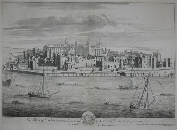 (VIEWS). KNYFF, Leonard [1650-1721] (Artist). KIP, Johannes [1653-1722] (Engraver). The Tower of London, Commanded in Chief by the Rt. Honble. The Earl of Lincoln. L. Kynff Delin. J. Kip Sculp. Plate '7'. Printed & Sold by J. Smith at ye sign of Exeter Exchange… [London: c1715].