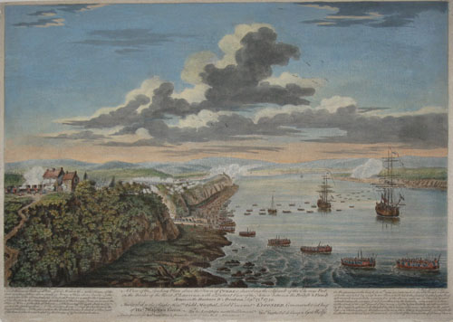 SMYTH, Hervey [1734-1811] (After). A View of the Landing Place above the Town of Quebec, describing the Assault of the Enemys Post, on the banks of the River St. Lawrence, with a Distant View of the Action between the British & French Armys, on the Hauteurs D'Abraham Septr. 13th. 1759. Cap. Hery. Smyth Delin. Francis Swain Pinxit. P.C. Canot Sculpt. London Printed for Robt. Sayer…at the Golden Buck in Fleet Street.