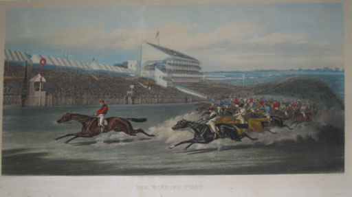 (SPORTING). ALKEN, Henry, Junior [1810-1894] (After). The Winning Post [Epsom Races]. Painted by H. Alken. Engraved by W. Summers. Painted by McQueen. London Published April 21st 1871; By J. McQueen, 37 Great Marlborough Street, Regent Street, London…