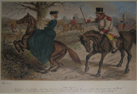 "(SPORTING). LEECH, John [1817-1864]. Gone Away! Old Coachman ""Now Miss Ellen! Miss Ellen! You know hat your Pa said!... [London: 'Celebrated Hunting Subjects'. c1865]."