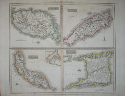 (WEST INDIES). THOMSON, John [fl. 1813-1869]. West India Islands. Grenada. Tobago. Curacao. Trinidad. Drawn and Engraved for Thomson's New General Atlas. [Edinburgh: 1821].