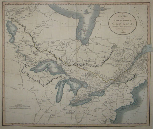 "(CANADA). CARY, John [c1754-1835]. A New Map Of Upper & Lower Canada, From The Latest Authorities. By John Cary, Engraver 1819. London: Published by J. Cary… Jany. 1st 1819. 20 ½"" x 23 ½"" (46 x 52 cm)."