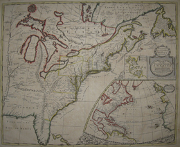 (NORTH AMERICA). MORDEN, Robert [fl. 1668-1703] / SENEX, John [fl. 1690-1740]. A New Map Of The English Empire In America Viz Virginia New York Maryland…Newfoundland New France &c. Revis'd by John Senex 1719 [Inset Maps: 'A Generall Map of the Coasts & Isles of Europe, Africa and America' & 'The Harbour of Boston…']. [London: 1721].