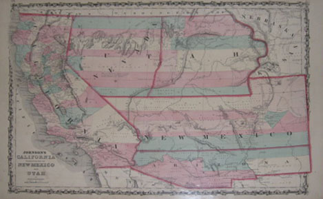 (UNITED STATES). [JOHNSON & BROWNING]. Johnson's California Territories of New Mexico And Utah By Johnson & Browning. [Johnson's New Illustrated Family Atlas'. New York: 1860].
