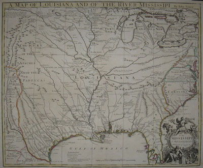 (LOUISIANA). SENEX, John [fl. 1690-1740]. A Map Of Louisiana And Of The River Mississipi By John Senex [Border Title]. This Map of the Mississipi Is Most Humbly Inscribed to William Law of Lawreston Esq. [Cartouche Title]. [London: 1721].